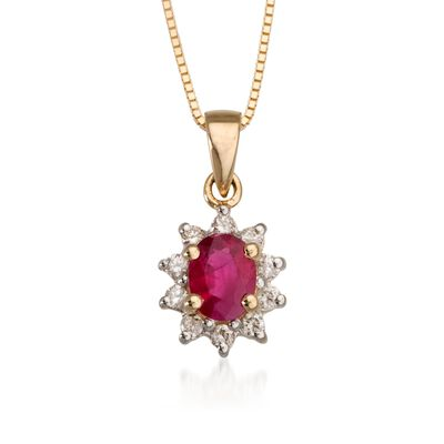 .10 ct. t.w. Diamond and .40 Carat t.w. Ruby Pendant Necklace in 14kt Yellow Gold, , default