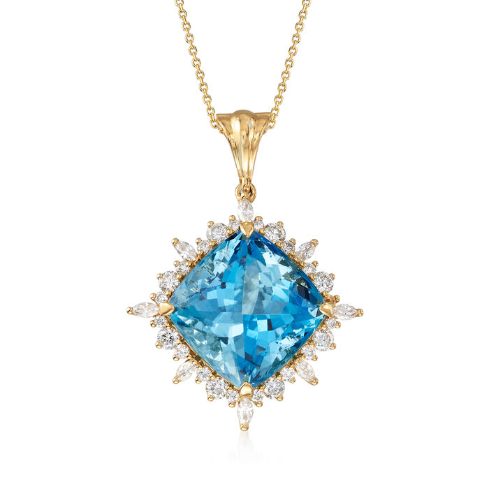 "26.00 Carat Aquamarine and 1.87 ct. t.w. Diamond Pendant Necklace in 18kt Yellow Gold. 18"", , default"