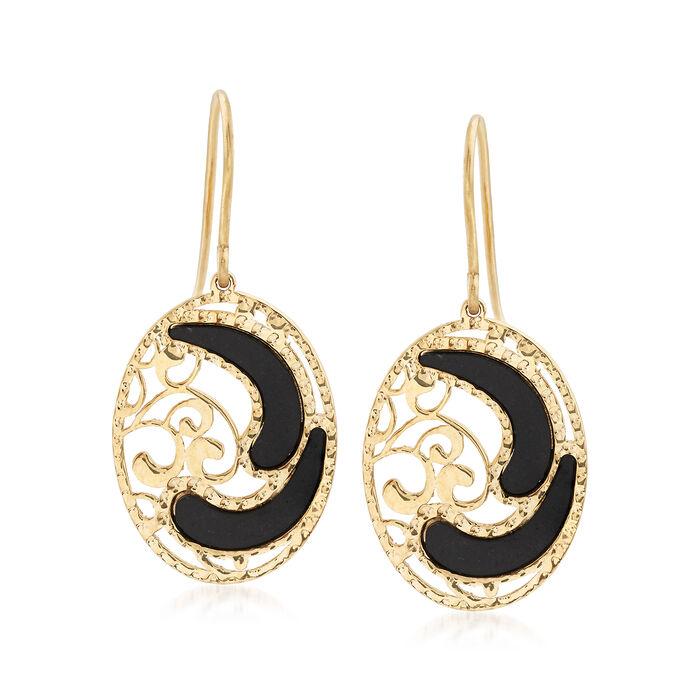 Italian Black Enamel Filigree Earrings in 14kt Yellow Gold, , default