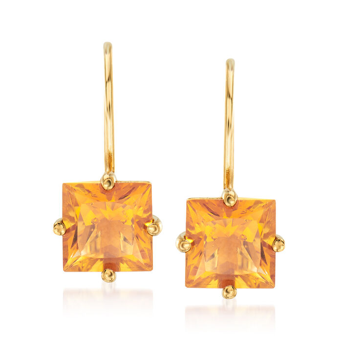 1.94 ct. t.w. Citrine Earrings in 14kt Yellow Gold