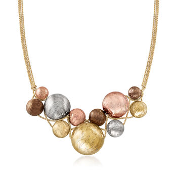 "Italian 14kt Tri-Colored Gold Bead Bib Necklace. 18"", , default"