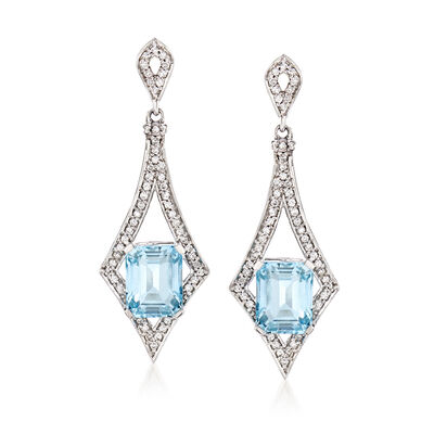 5.00 ct. t.w. Aquamarine and .55 ct. t.w. Diamond Drop Earrings, , default
