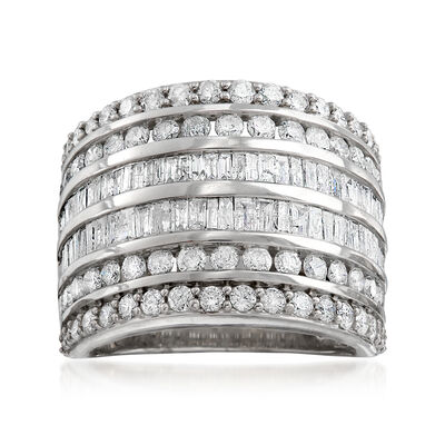 3.00 ct. t.w. Baguette and Round Diamond Multi-Row Ring in Sterling Silver, , default