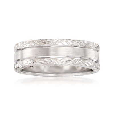 Men's 7mm 14kt White Gold Wedding Band