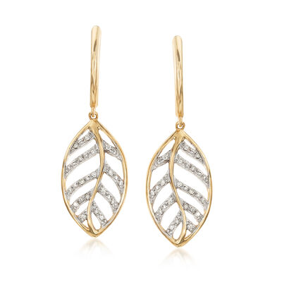 .13 ct. t.w. Pave Diamond Openwork Leaf Drop Earrings in 14kt Yellow Gold, , default