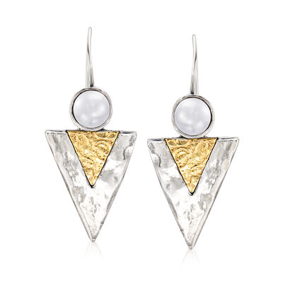 7-7.5mm Cultured Pearl Triangle Drop Earrings in Sterling Silver with 14kt Yellow Gold, , default