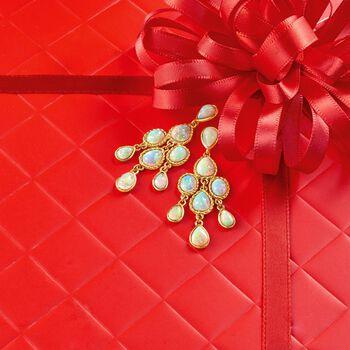 Ethiopian Opal Chandelier Earrings in 14kt Yellow Gold , , default