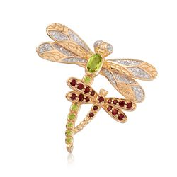 1.21 ct. t.w. Multi-Stone Dragonfly Pin Pendant in 18kt Gold Over Sterling, , default