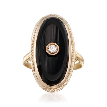 C. 1950 Vintage Onyx Ring in 14k Two-Tone Gold With Diamond Accent. Size 4.25, , default