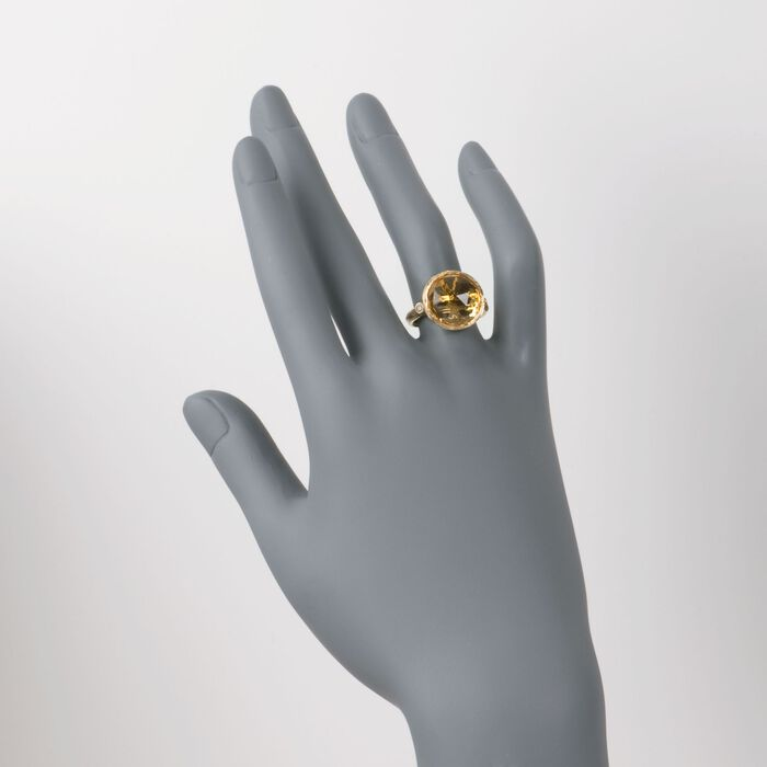9.00 Carat Citrine Ring with Diamonds in 14kt Yellow Gold