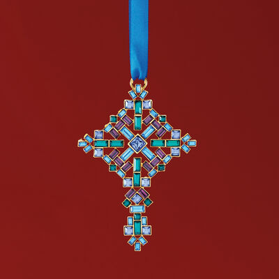 Ross-Simons Multicolored Crystal Christmas Cross Ornament in Gold Plate, , default