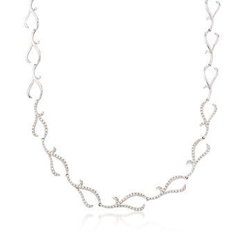 "C. 2000 Vintage 1.65 ct. t.w. Diamond Swirling Branch Motif Necklace in 14kt White Gold. 16.25"", , default"
