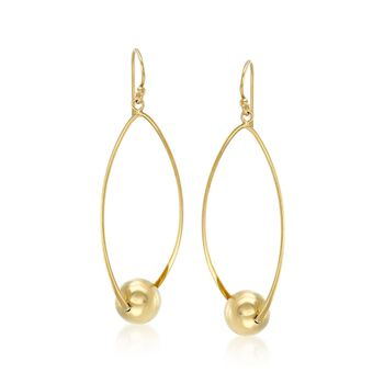 18kt Gold Over Sterling Silver Twisted Oval and Bead Drop Earrings, , default