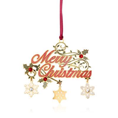 """Merry Christmas"" Crystal Ornament, , default"