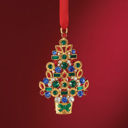 Jeweled Christmas Tree Ornament With Swarovski Crystals in Gold Plate, , default