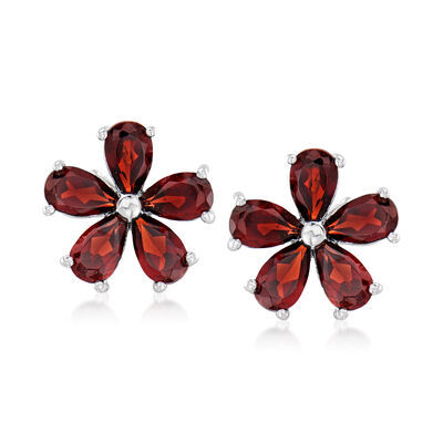 2.30 ct. t.w. Garnet Flower Earrings in Sterling Silver