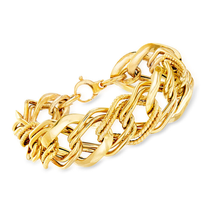 "Italian 18kt Yellow Gold Link Bracelet. 8"""