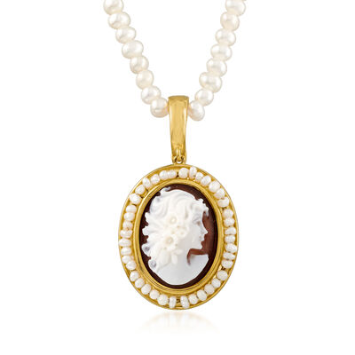 Italian 2-4mm Cultured Pearl and Brown Shell Cameo Pendant Necklace in 18kt Gold Over Sterling