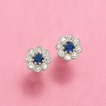 .40 ct. t.w. Sapphire and .27 ct. t.w. Diamond Flower Earrings in 14kt Yellow Gold , , default