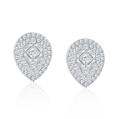 .50 ct. t.w. Baguette and Round Diamond Pear-Shaped Cluster Earrings in 14kt White Gold