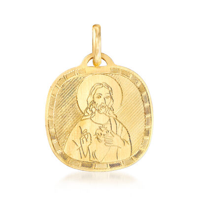 Italian 18kt Yellow Gold Sacred Heart Pendant , , default