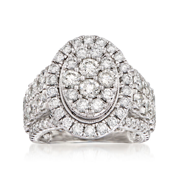 4.00 ct. t.w. Diamond Cluster Oval Ring in 14kt White Gold