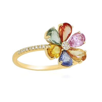 3.30 ct. t.w. Multicolored Sapphire and .10 ct. t.w. Diamond Flower Ring in 18kt Yellow Gold