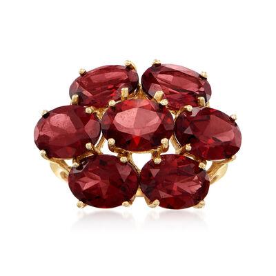 C. 1980 Vintage 10.50 ct. t.w. Garnet Cluster Ring in 14kt Yellow Gold, , default