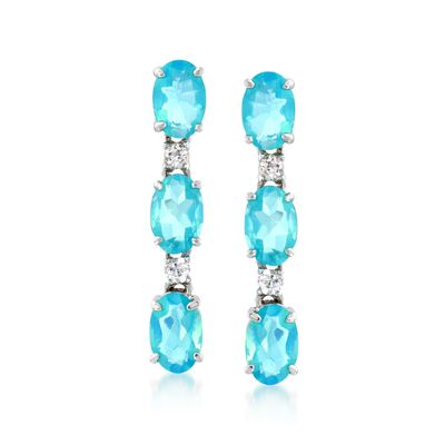 Blue Opal and .10 ct. t.w. White Zircon Linear Earrings in Sterling Silver, , default