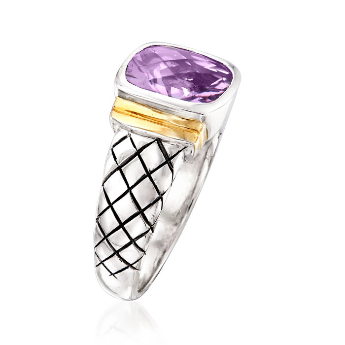 2.10 Carat Amethyst Ring in Sterling Silver and 14kt Yellow Gold