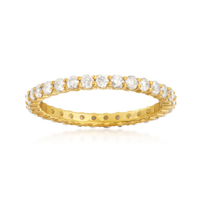 1.00 ct. t.w. Diamond Eternity Band in 18kt Yellow Gold Over Sterling Silver, , default