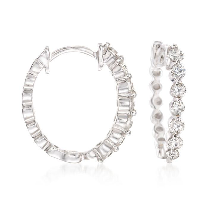 ".50 ct. t.w. Diamond Huggie Hoop Earrings in 14kt White Gold. 1/2"", , default"