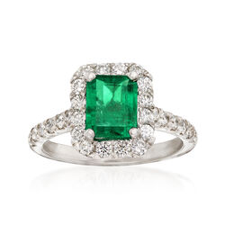 1.30 Carat Emerald and .85 ct. t.w. Diamond Ring in 14kt White Gold, , default