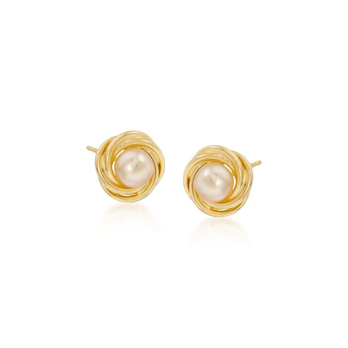 5-5.5mm Cultured Pearl Knot Stud Earrings in 14kt Yellow Gold, , default