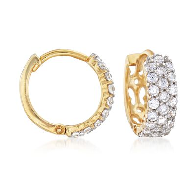 Italian .80 ct. t.w. CZ Huggie Hoop Earrings in 14kt Gold Over Sterling, , default