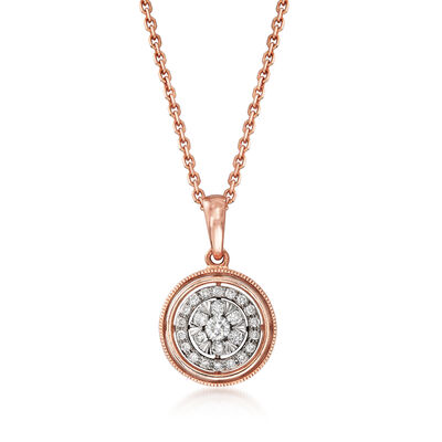 C. 2000 Vintage .25 ct. t.w. Diamond Circle Pendant Necklace in 14kt Rose Gold