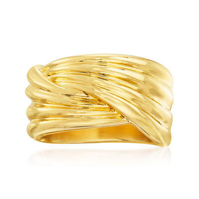 Italian Andiamo 14kt Yellow Gold Crossover Ring, , default