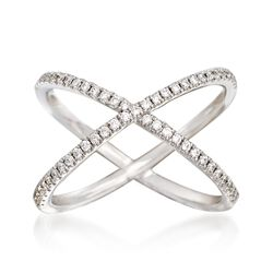Henri Daussi .30 ct. t.w. Diamond Crisscross Ring in 14kt White Gold. Size 6, , default