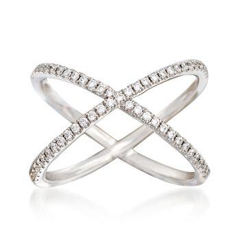 Henri Daussi .30 ct. t.w. Diamond Crisscross Ring in 14kt White Gold. Size 6, , default