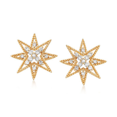 .28 ct. t.w. Diamond Star Earrings in 14kt Yellow Gold