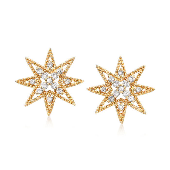 .28 ct. t.w. Diamond Star Earrings in 14kt Yellow Gold, , default