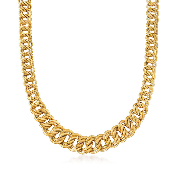 """Italian 14kt Yellow Gold Graduated Double-Link Necklace. 18"""", , default"""