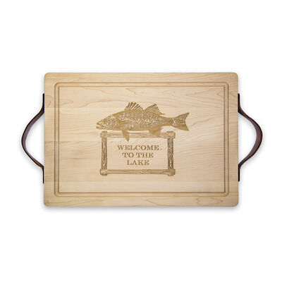 """Welcome to the Lake"" Maple Wood Cutting Board, , default"