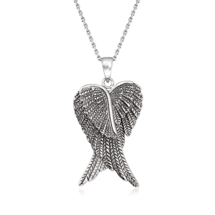 Sterling Silver Angel Wing Pendant Necklace