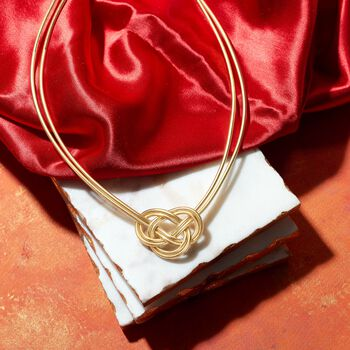 "Italian Two-Strand Flex Knot Necklace With 18kt Gold Over Sterling. 18"", , default"