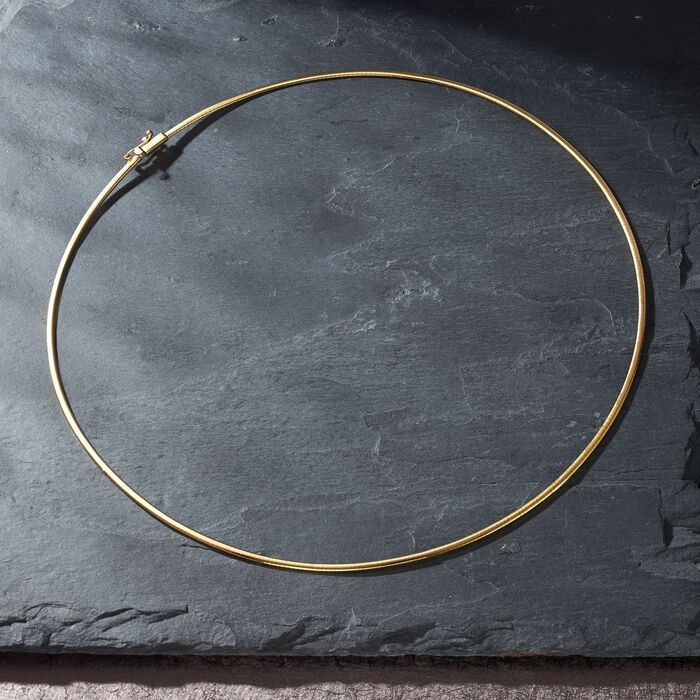 Italian 2mm 18kt Yellow Gold Omega Necklace