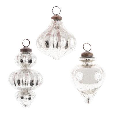 Set of 3 Mercury Glass Retro Silver Ornaments
