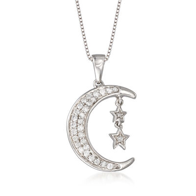 .33 ct. t.w. Diamond Stars and Moon Pendant Necklace in Sterling Silver, , default