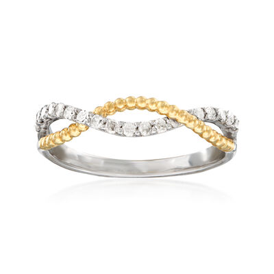 .25 ct. t.w. Diamond Twisted Bead Ring in Sterling Silver and 14kt Yellow Gold, , default