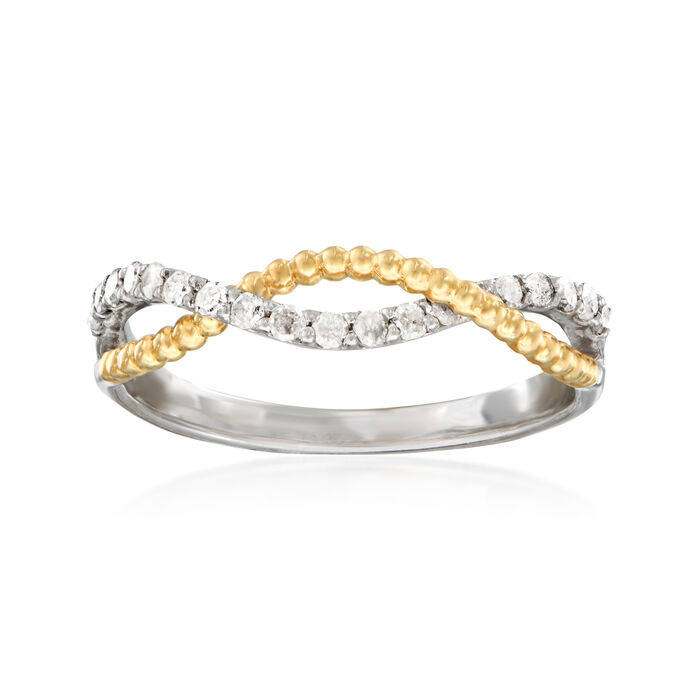 .25 ct. t.w. Diamond Twisted Bead Ring in Sterling Silver and 14kt Yellow Gold